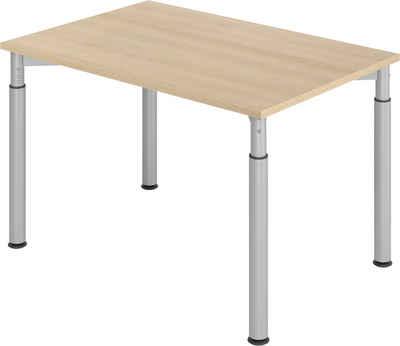 bümö Schreibtisch »OM-YS12-S«, höhenverstellbar - Rechteck: 120x80 cm - Gestell: Silber, Dekor: Eiche