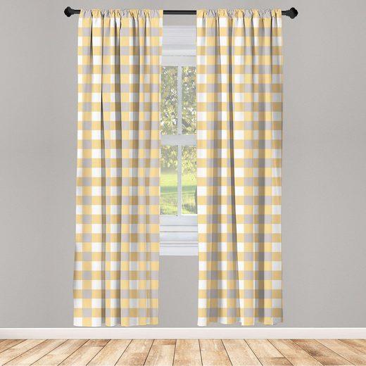 Gardine »Fensterbehandlungen 2 Panel Set für Wohnzimmer Schlafzimmer Dekor«, Abakuhaus, Geometrisch Checkered Shabby Alt