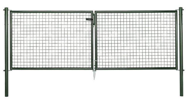 Zaun-Doppeltür Maschendraht grün