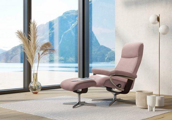 Stressless® Relaxsessel »View« (Set, Relaxsessel mit Hocker), mit Hocker, mit Cross Base, Größe S, M & L, Gestell Braun