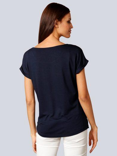 Alba Moda Spitzenshirt mit toller Spitze am Ausschnitt