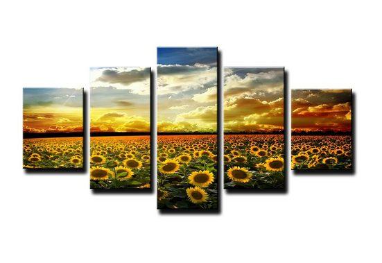 Visario Bild »5 er Set Bild auf Leinwand sofort aufhängbar, fertig gerahmt, 160 x 80 cm«, 5535