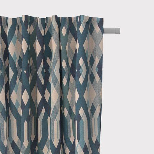Vorhang »SCHÖNER LEBEN. Vorhang Vorhangschal mit Smok-Schlaufenband Retro-Linien blau 245cm oder Wunschlänge«, SCHÖNER LEBEN., (1 Stück)