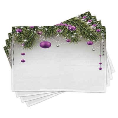 Platzset, »Waschbare Stoff Esszimmer Küche Tischdekorations Digitaldruck«, Abakuhaus, (4-teilig, 4 Teilig-St., Set aus 4x), Weihnachten Baum