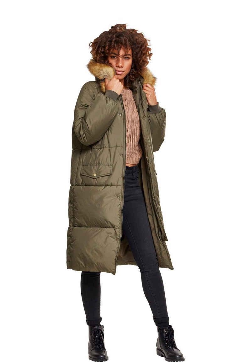 URBAN CLASSICS Winterjacke »Ladies Oversize Faux Fur Puffer Mantel -TB2382-«