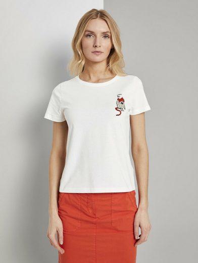 TOM TAILOR T-Shirt »T-Shirt mit kleiner Affen-Applikation«