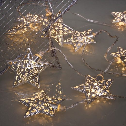 matches21 HOME & HOBBY LED-Lichterkette »Lichterkette Mini LED 10-flammig warmweiß Metall Sterne beleuchtet«, 10-flammig