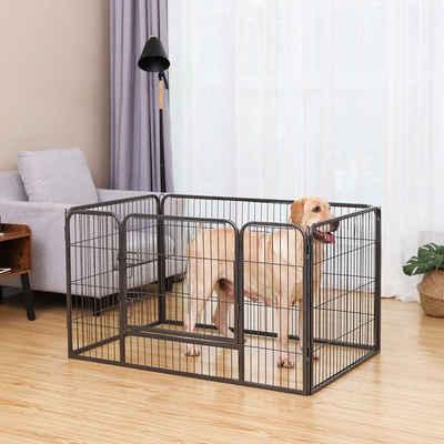 FEANDREA Hundekäfig »PPK04BK PPK04GY«, Laufgitter Freigehege Welpenauslauf mit Bodengleiter 122 x 80 x 70 cm Kleintiere