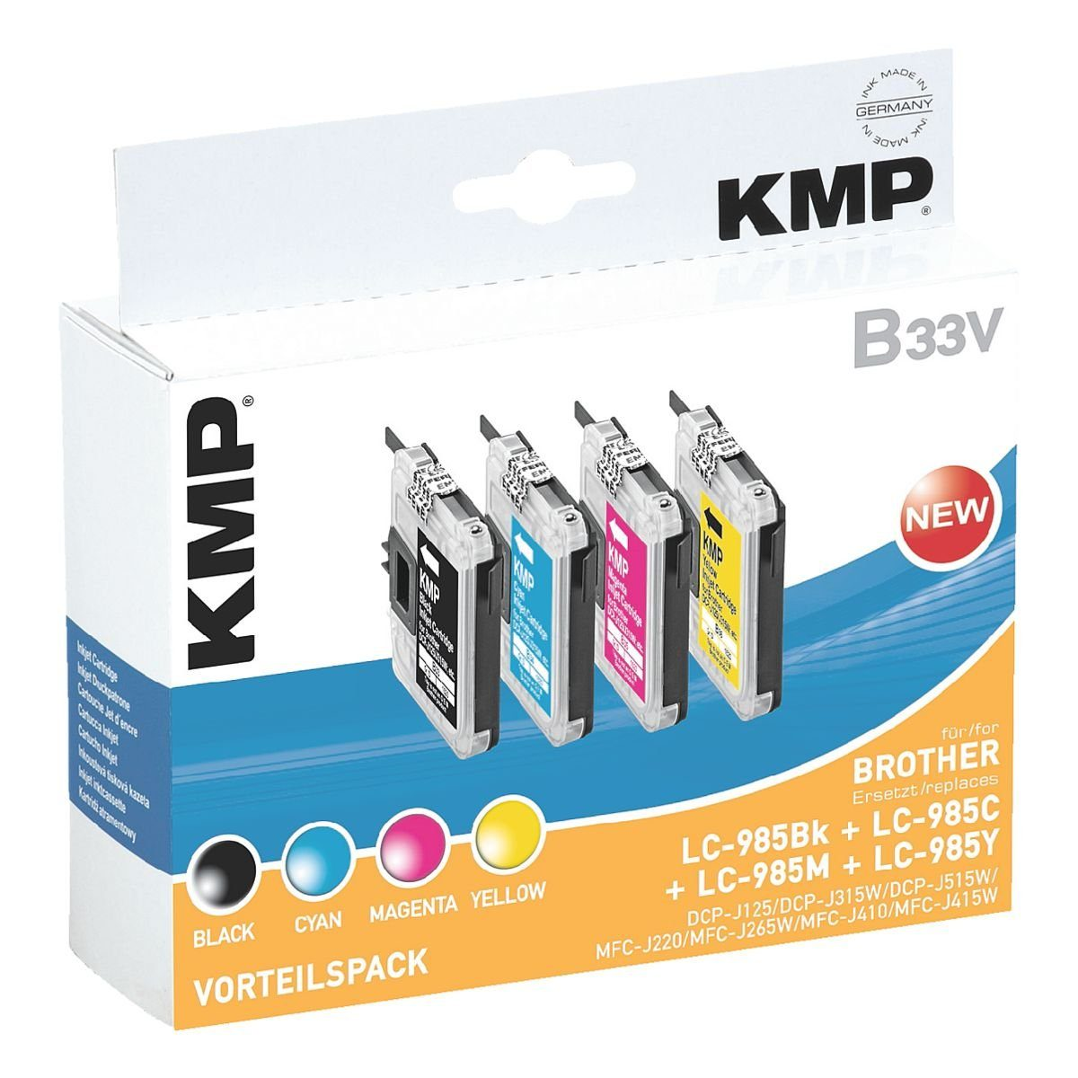KMP Tintenpatronen-Set ersetzt Brother »LC-985BK/C/M/Y«