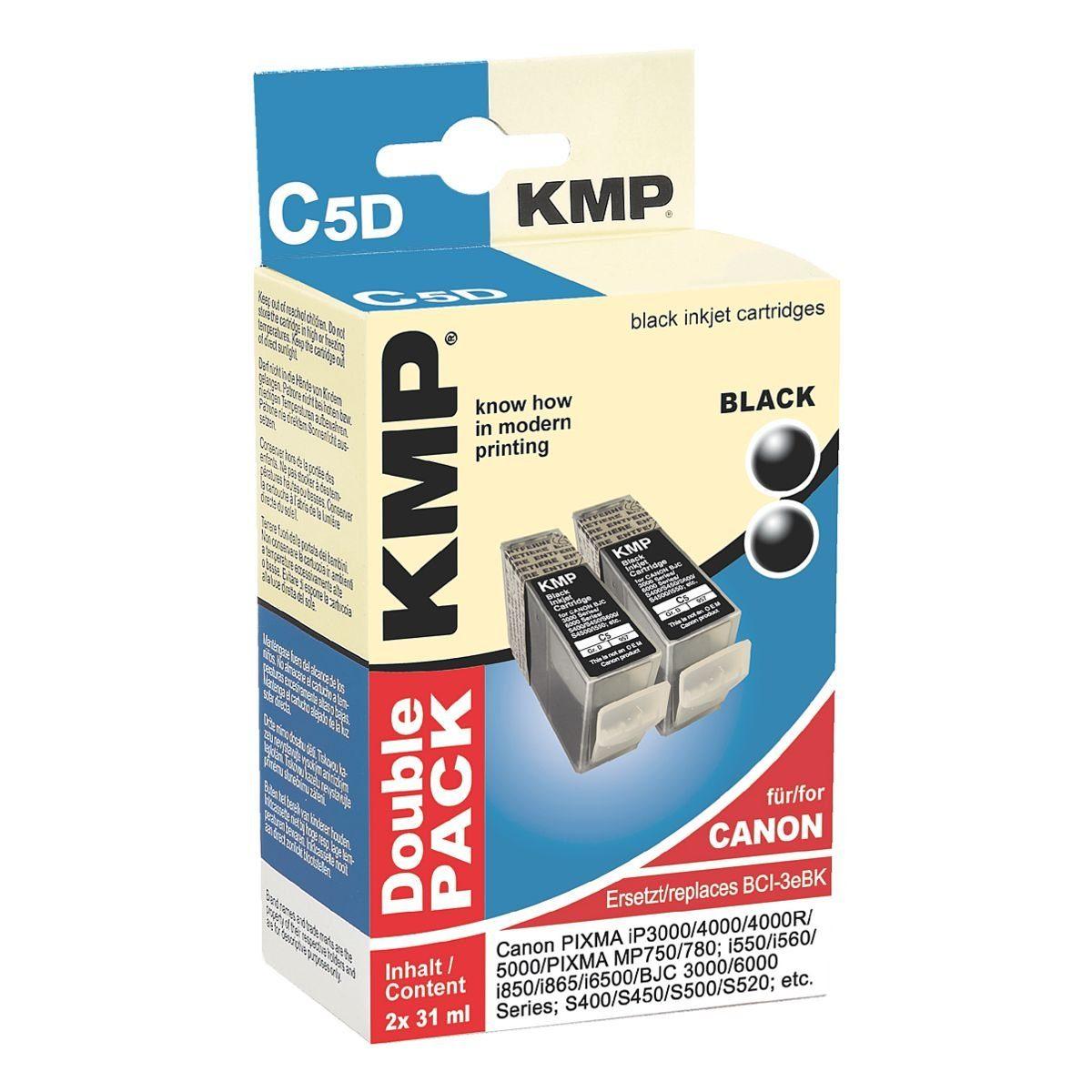 KMP 2er-Pack Tintenpatronen ersetzt Canon »BCI-3BK«