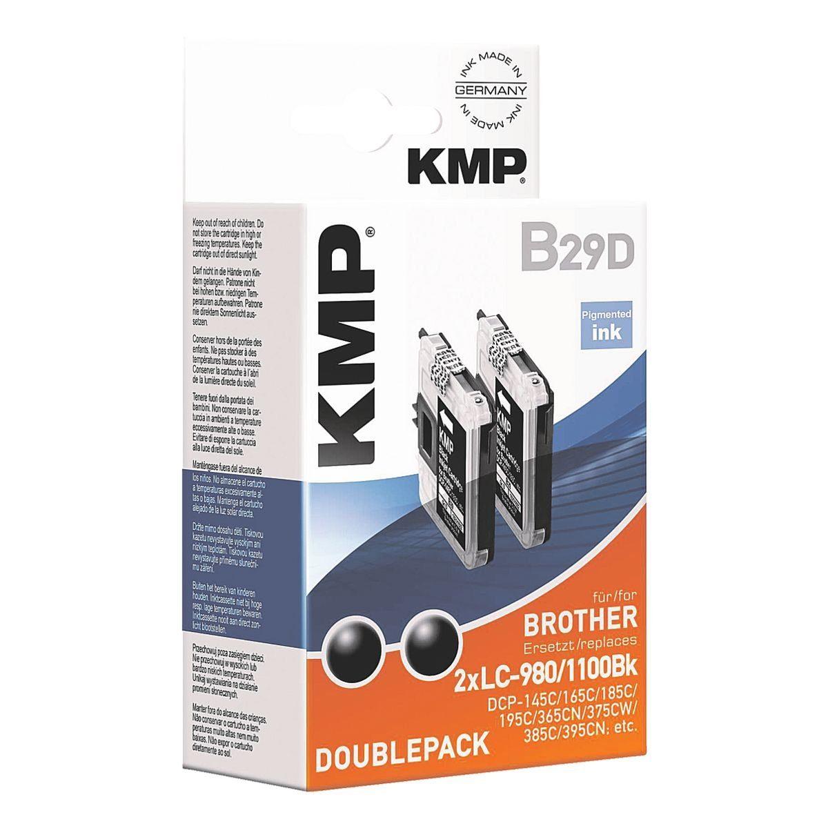 KMP 2er-Pack Tintenpatrone ersetzt Brother »LC980 / LC-1100B...