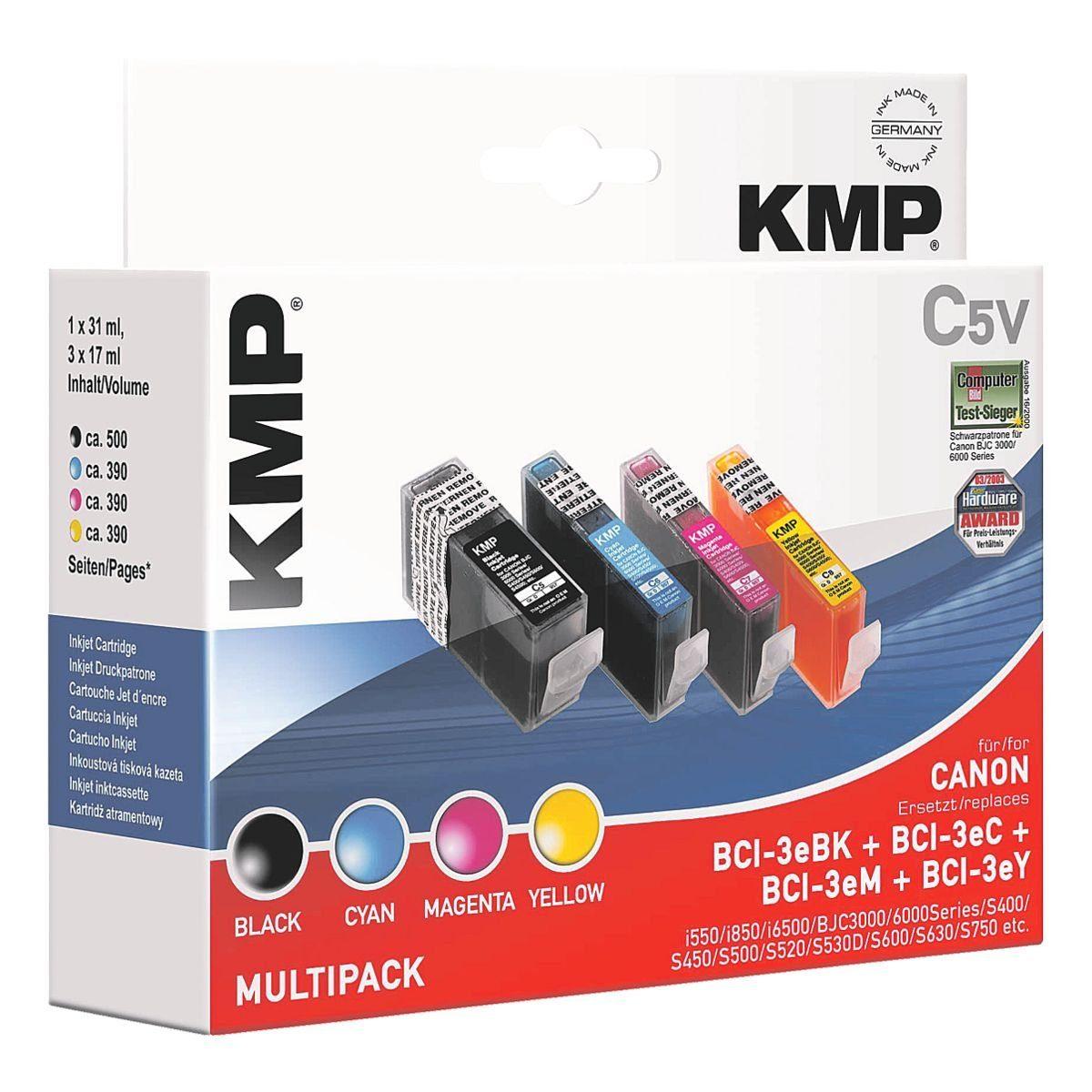 KMP Tintenpatronen-Set ersetzt Canon »BCI-3BK/C/M/Y«