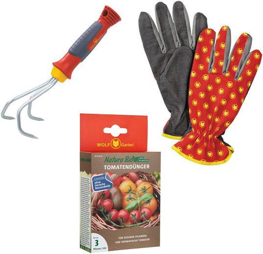 WOLF GARTEN Set: Tomatendünger »Natura Bio«, 250 g, mit Grubber und Handschuhe