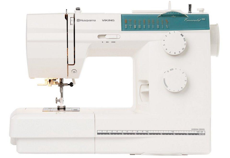 Husqvarna Viking Nähmaschine Emerald 118, 18 Nähprogramme, integrierter Nadeleinfädler in weiß
