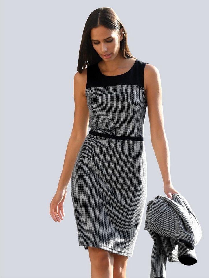 alba moda -  Druckkleid mit uni abgesetztem Schulterbereich