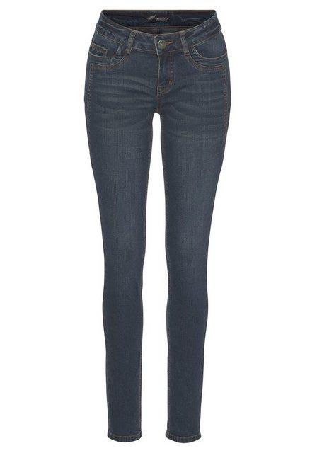 Hosen - Arizona Skinny fit Jeans »mit Keileinsätzen« Low Waist › blau  - Onlineshop OTTO
