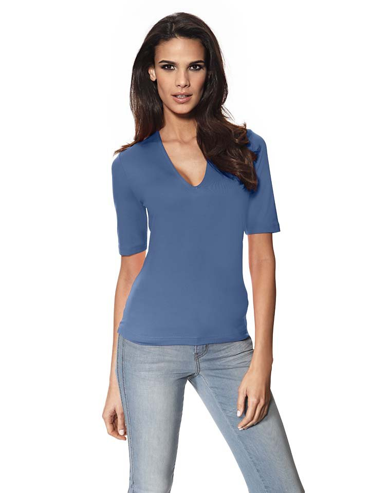 PATRIZIA DINI by Heine V-Shirt Tactel in blau