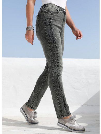 MIAMODA Jeans mit streckender Paillettenverzierung