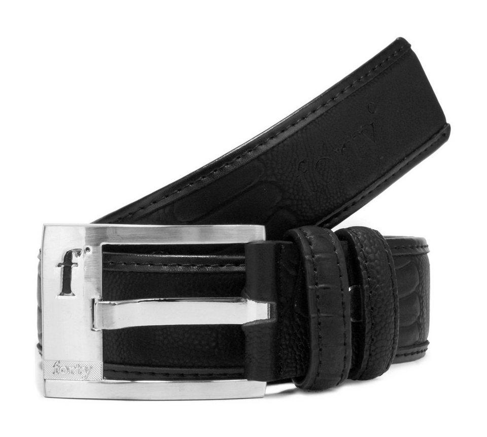 Forty degrees Leder Gürtel in schwarz