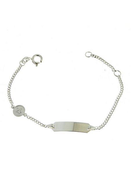 Firetti ID Armband Gravurplatte / Engeleinhänger / 2-fach diamantiert / poliert / rhodiniert / mit Gratisgravur | Schmuck > Armbänder > Armbänder mit Gravur | Firetti