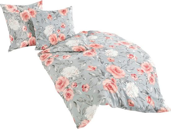 Bettwäsche »Roses«, BIERBAUM, 100 % Baumwolle, Mako-Satin Qualität
