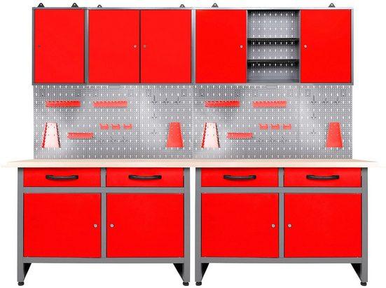 ONDIS24 Werkstatt-Set, (Set), 240 cm, mit 2 LED Lampen