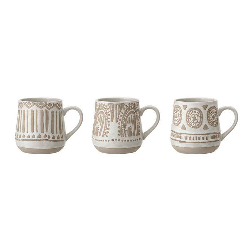 Bloomingville Tasse »Cora Mug, Nature, Stoneware«, 3er Set Tassen, 400ml, Steingut, Kaffeetassen, Kaffeebecher, Teetassen, dänisches Design, natur