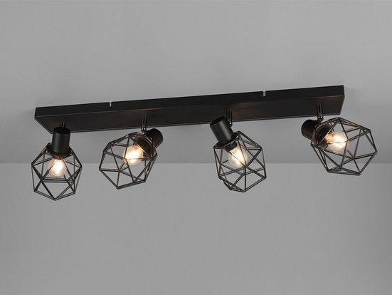 meineWunschleuchte Deckenspots, Industrial Deckenlampe mit Gitter Lampenschirm schwenkbar, Deckenbeleuchtung mehrflammig Gitterlampe Schwarz