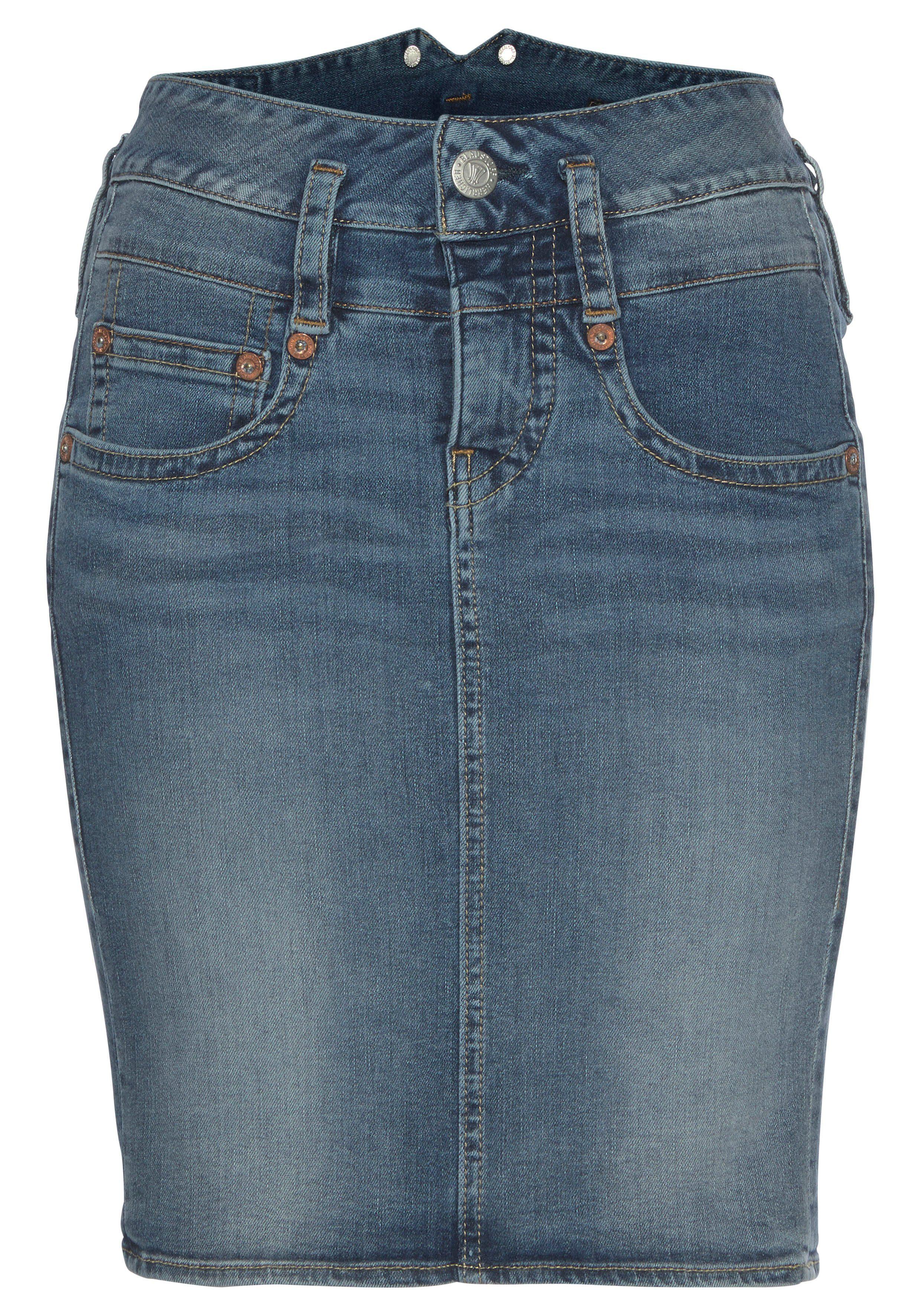 Jeansrock Used-Waschung Kurzer-Rock Minirock Damen Blau Aniston Fashion Trend