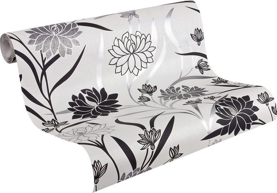 Vliestapete, Livingwalls, »Mustertapete in elegantem Blumendesign« in weiß-grau