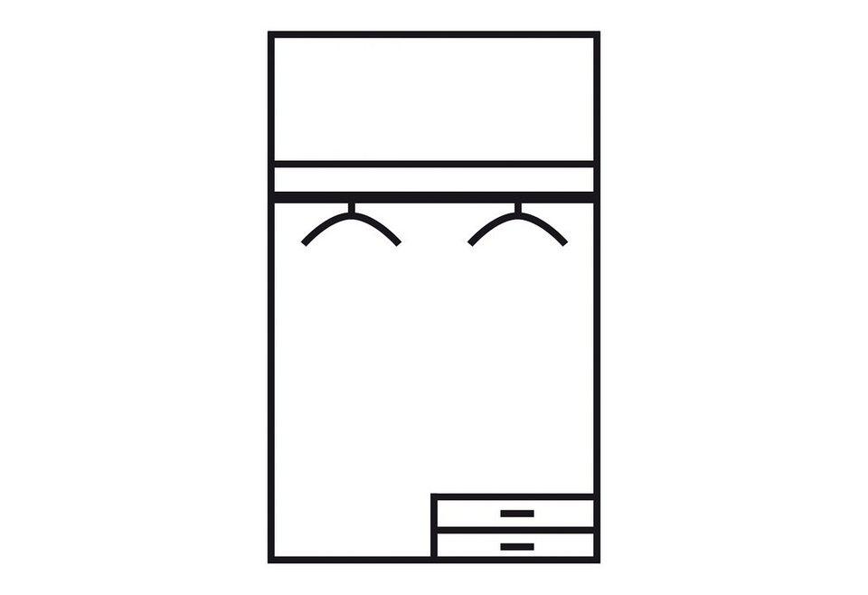 Wimex Kleiderschrank, 2-türig mit 2 Schubkästen in struktureichefarben hell/weiß