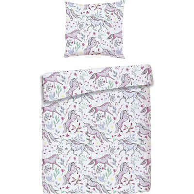 Bettwäsche »Kinderbettwäsche Einhorn, Cretonne, rosa, 135 x«, MyToys-COLLECTION