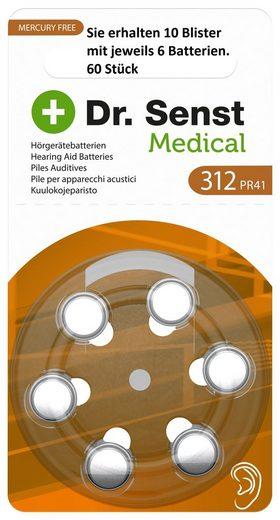 Dr. Senst »10 x 6 Stück Dr. Senst Medical Zinc Air Hearing Hörgerätebatterien Aid ZA312, BP6 - Sie erhalten 10 Blister mit jeweils 6 Batterien - 60 Stück« Batterie, (60 St)« Batterie