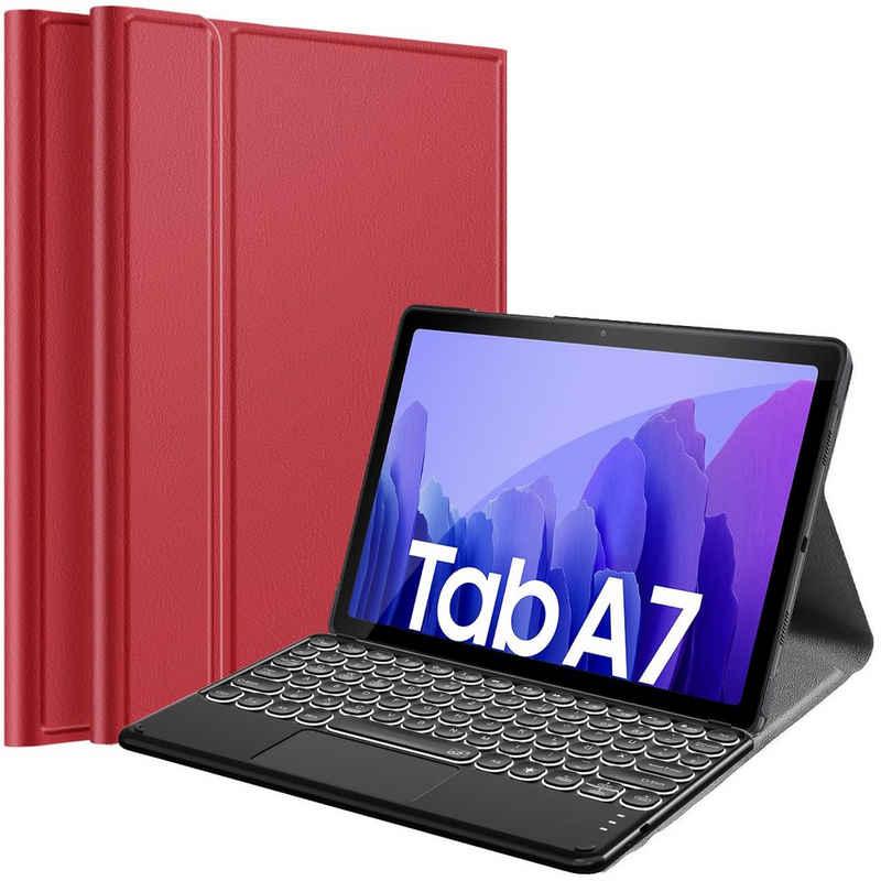 IVSO »Beleuchtete Touchpad Tastatur Hülle für Samsung Galaxy Tab A7 10.4 2020, [Type-C QWERTZ Deutsches],« Tablet-Tastatur (Samsung Galaxy Tab A7 T505/T500/T507 10.4) Tastatur Hülle, Schutzhülle mit Abnehmbar Tastatur« Tablet-Tastatur
