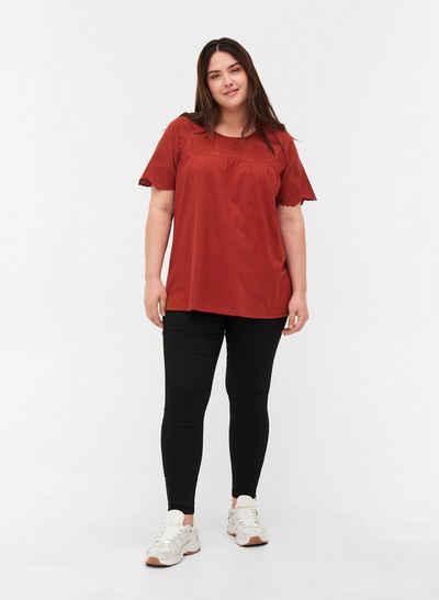 Zizzi Kurzarmbluse Große Größen Damen Bluse mit Lochstickerei aus Baumwolle