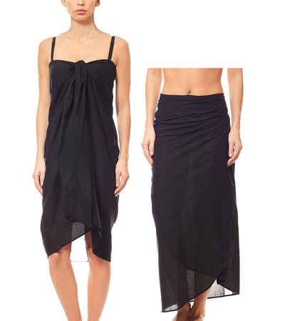 Maui Wowie Sommerkleid »MAUI WOWIE Strandbekleidung schlichter Pareo Strand-Kleid Rock Bademode Schwarz«