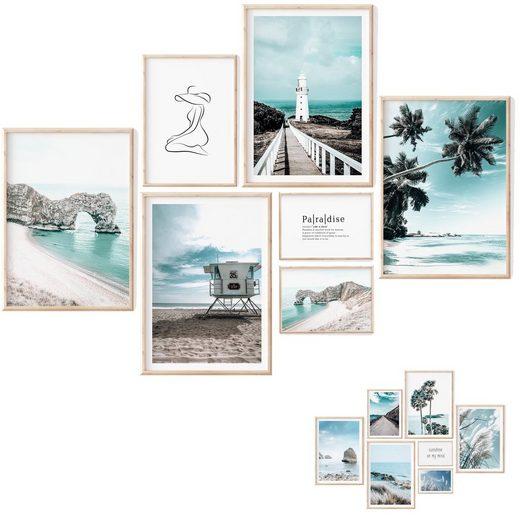 myDreamwork Kunstdruck »Poster Set - 7 Beidseitige Bilder – Poster Meer Deko für Wohnzimmer, Poster Strand, Deko Mint, Bilder Bad - OHNE Rahmen (4x A3, 1x A4, 2x A5)«, Meer
