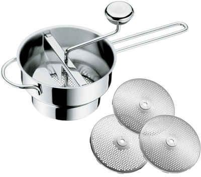 WMF Passiersieb »Gourmet«, Cromargan® Edelstahl Rostfrei 18/10, (4-St), mit 3 Siebeinsätzen