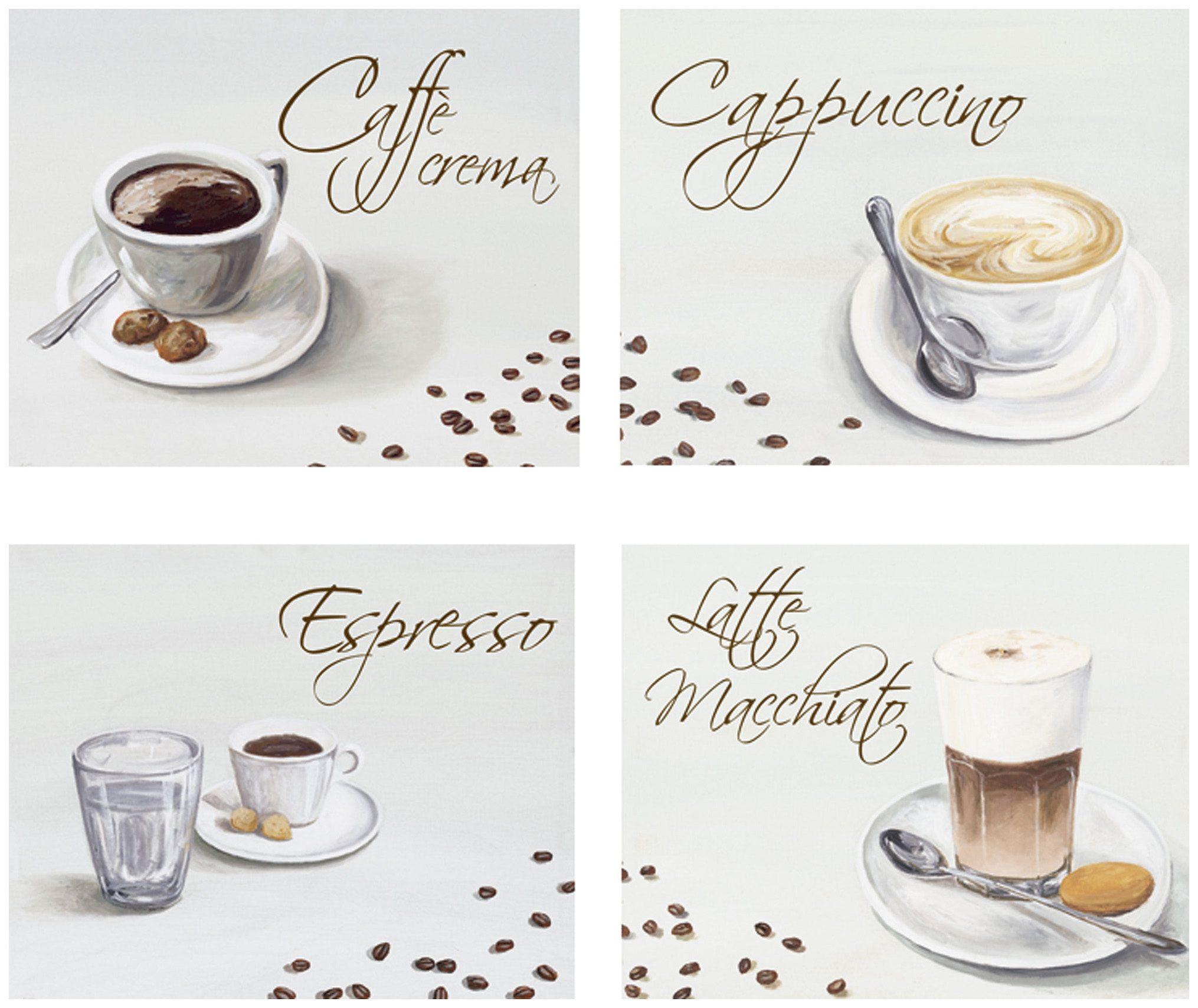 Home affaire Kunstdruck »Kaffee«, Kaffee (Set, 4 St), 4-tlg., je 29/23 cm