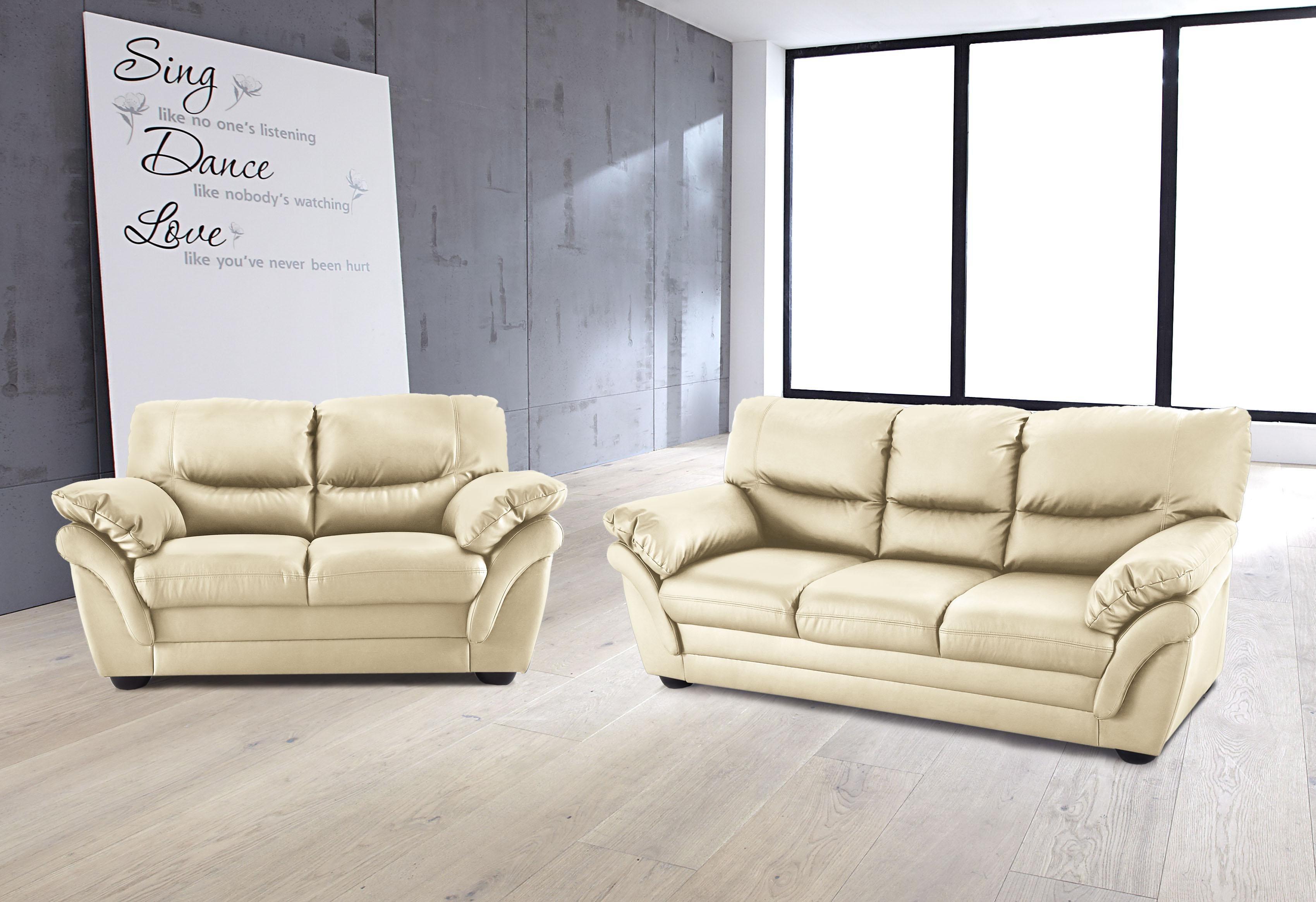 Benformato Home Set: 2-Sitzer und 3-Sitzer | Wohnzimmer > Sofas & Couches > Garnituren | Schwarz | Polyester | BENFORMATO HOME COLLECTION