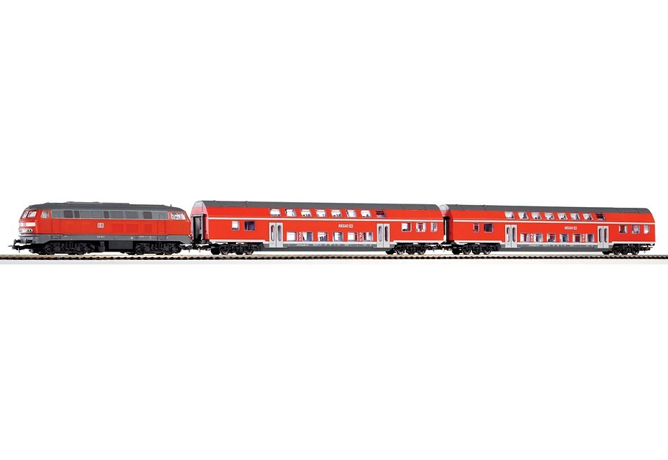 PIKO®, Zug-Set »Start-Set BR 218 + 2 Doppelstockwagen der DB - 57150«, Spur H0 in rot
