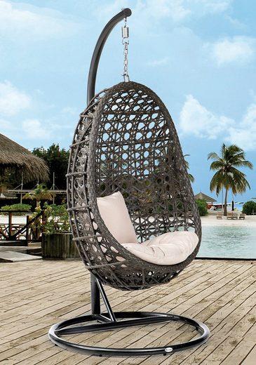DESTINY Hängesessel »Coco«, Kunststoff, grau, inkl. Sitz- und Rückenkissen