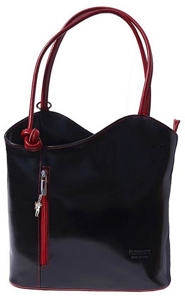 florence -  Schultertasche »OTF106S  2in1 Damen Schultertasche« (Schultertasche), Damen Tasche, Rucksack, Echtleder, Rindsleder schwarz, rot