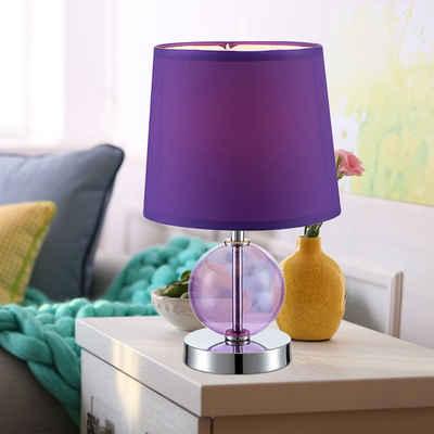 Globo Tischleuchte, Nachttischlampe Wohnzimmerleuchte Beistellbeleuchtung Leseleuchte Textil Nachttischlampe lila, Chrom Glas, 1x E14, DxH 18 x 30 cm
