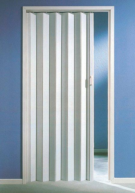Kunststoff-Falttür, Höhe nach Maß, weiß (ohne Fenster)