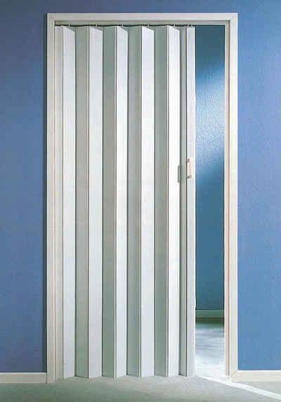 Kunststoff-Falttür , Höhe nach Maß, weiß ohne Fenster