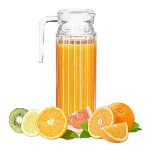 relaxdays Wasserkrug »Saftkrug Glas 1 l«