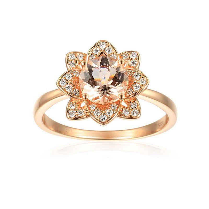 Stella-Jewellery Verlobungsring »585er Rotgold Damenring mit Morganit Brillanten« (inkl. Etui, 1-tlg., synth. Smaragd ca. 1,34 ct. - inkl. Etui), Morganit 1,23ct. und Brillanten 0,12ct.