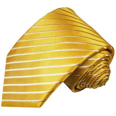 Paul Malone Krawatte »Moderne Herren Seidenkrawatte gestreift 100% Seide« Breit (8cm), gold 940