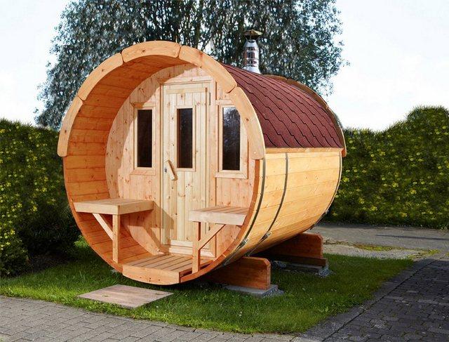 Saunen und Zubehör - WOLFF FINNHAUS Fasssauna »250«, 205 250 210 cm, rote Schindeln, ohne Ofen  - Onlineshop OTTO